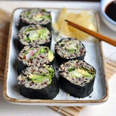 Quinoa Sushi Recipe with brown rice vinegar, water, honey, sea salt, quinoa, water, avocado, cucumber, radishes, lettuce leaves, white sesame seeds, nori sheets, gari, soy sauce
