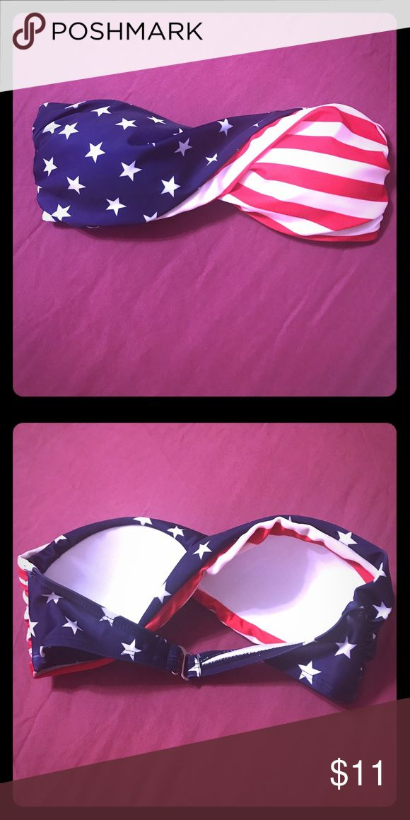 NWOT American flag bandeau bikini top (small) NWOT (never before worn) super cute red, white, and blue stars & stripes bandeau bikini top 🇺🇸 right in time for the 4th of July ❤️ (size small). I bought this to wear on red bikini bottoms that I had but it turned out to be too small, so wear it on any red, white, or blue bikini bottom for a patriotic beach day 😍 Swim Bikinis