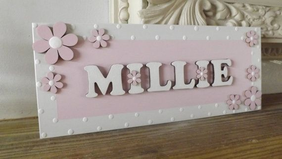 Girls Door/Wall Mounted Daisy Name Plaque. by AvaBeePrettyWooden