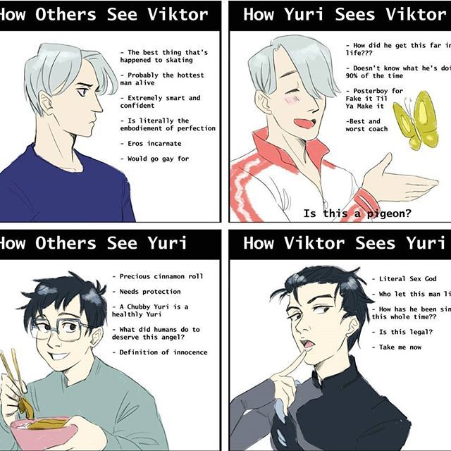 I love this so much it's so accurate <<< it's basically the show. I mean Victor looks like a sinnamon roll which actually is a cinnamon roll. On the other hand Yuri looks like a cinnamon roll but we all now he is no angel.