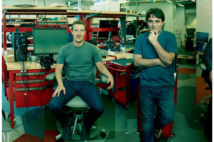 VIRTUAL BOYS: Mark Zuckerberg and Palmer Luckey, at Oculus headquarters, on the Facebook campus, in Menlo Park, California. Photograph by Annie Leibovitz for Vanity Fair October 2015.