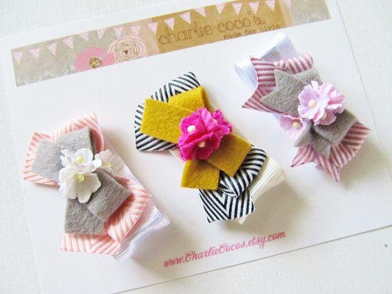 """Girls/Baby Hair Clip Set, Felt Flower, Felt Bow Hair Clips, Unique Hair Clips, Flower Hair Clips, Hair Bow Clips-""""Garden Party Trio"""""""