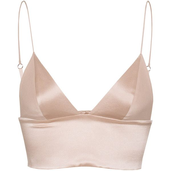 T BY ALEXANDER WANG Triangle Nude Silk bralette (2,595 MXN) ❤ liked on Polyvore featuring tops, shirts, crop tops, lingerie, bralette tops, triangle tops, banded bottom shirts, silk shirt and cropped tops