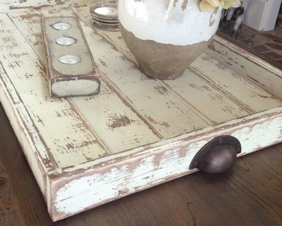 Coffee Table or Ottoman Tray  Large  Rustic White  by shabbyfresh, $79.00