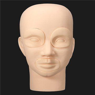 Detachable Soft Silicone Head Model Practice Makeup Dressing Lips Eyebrow Tattoo Training