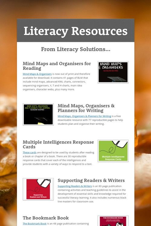 Literacy Resources. AWESOME!