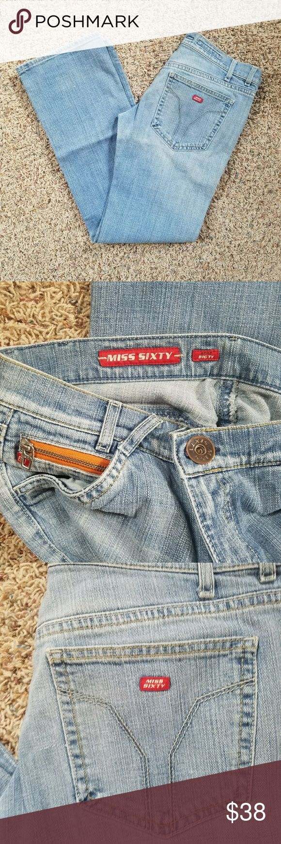 Miss Sixty Jeans Light wash Big TV style in great shape. Miss Sixty Jeans Straight Leg