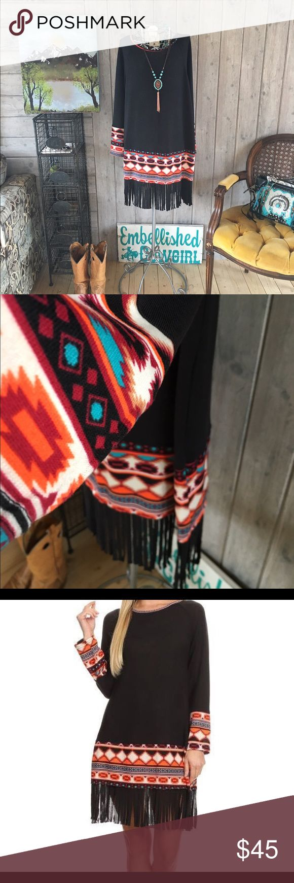 Cowgirl fringe print dress woman and plus sizes Cowgirl dress black with fringe fits true and roomy spandex blend poly. Super cute as dress to tunic with leggings and boots. Email man and plus sizes available.  Dresses
