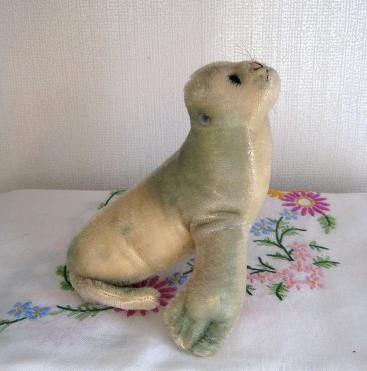 Steiff Vintage Mohair Seal With Squeaker @ Polly's Vintage Bears on Etsy