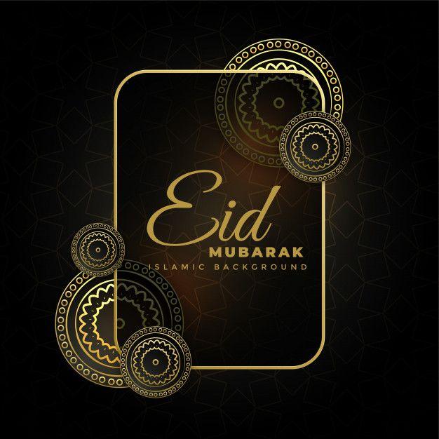Golden Decorative Eid Mubarak Dark Free Vector In 2020 Eid