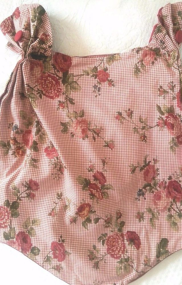 """Waverly Valance Floral Gingham Roses Buttons Red White 48"""" x 22"""" Cotton Lined #Waverly #Cottage"""
