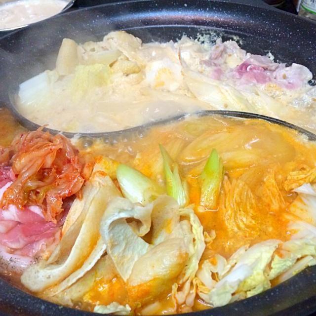 大人は辛鍋、子供は豆乳鍋 - 8件のもぐもぐ - チゲ鍋&胡麻みそ豆乳鍋 by aquarose
