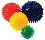 Massasjeballer med pigger som kan brukes til både massasje og trening av fingrene.