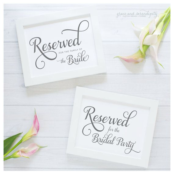 5x7 Reserved Table Signs wedding day by GraceSerendipityShop