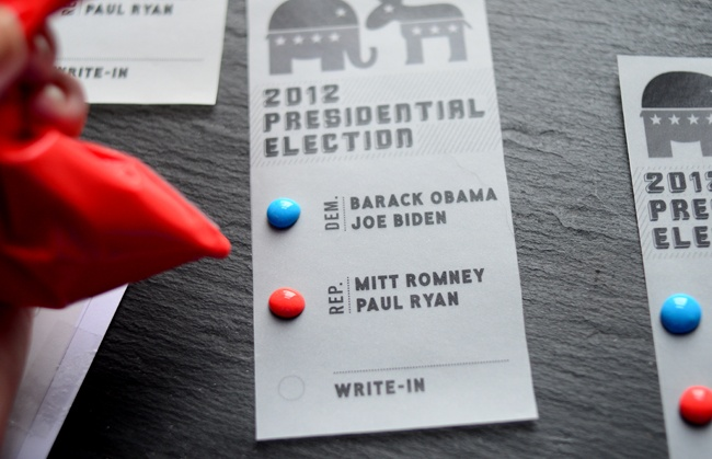So clever! // Pixel Whisk: Election Day Candy Button Ballots