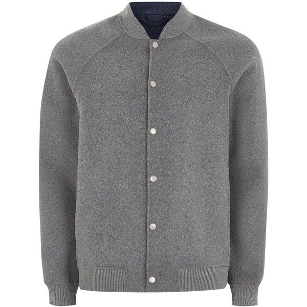 TOPMAN Grey Smart Bomber Jacket With Wool ($69) ❤ liked on Polyvore featuring men's fashion, men's clothing, men's outerwear, men's jackets, mid grey, mens leather sleeve jacket, mens wool jacket, mens grey jacket, mens grey wool jacket and mens wool outerwear