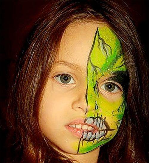 Trucco da mostro per Halloween per bambine