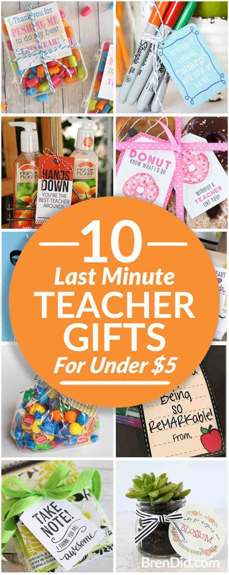 10 easy last minute teacher gifts (with free printables) take less than 5 minute...