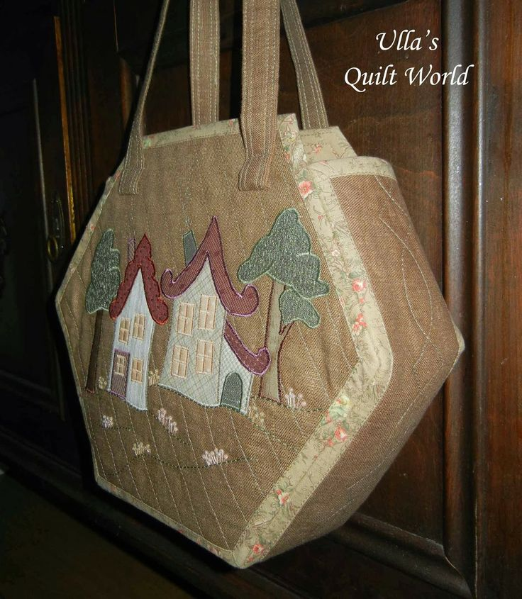Ulla's Quilt World: Quilt bag Houses, hexagon - tutorial, pattern