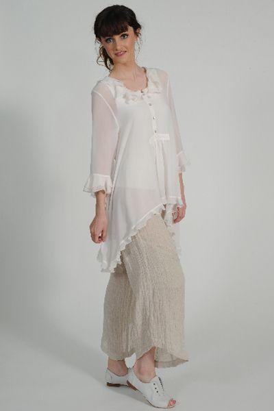Lolita silk georgette ruffle shirt, Tamara linen pant ,Primo leather shoe