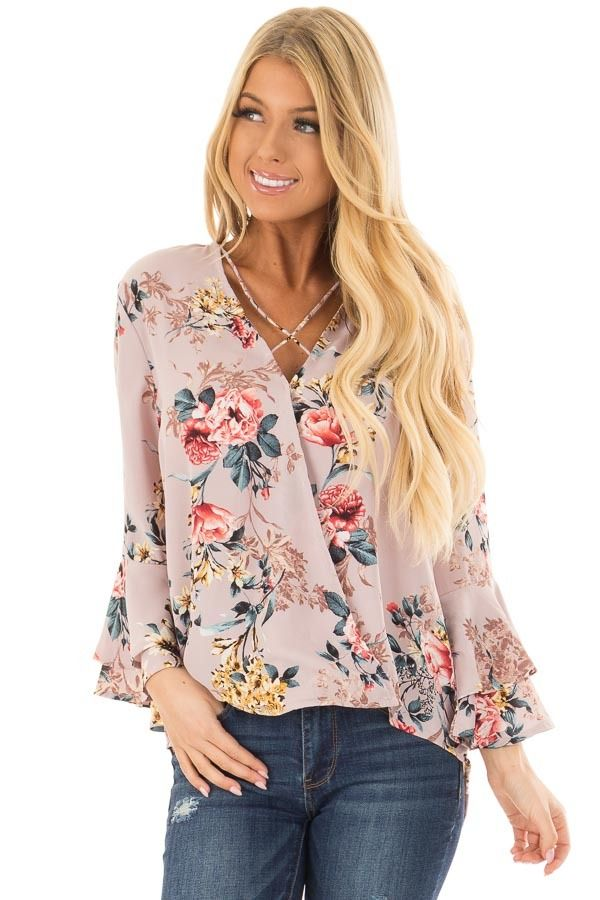 f8fa4f07ff31e Lime Lush Boutique - Misty Rose Floral Print Surplice Top with Bell  Sleeves