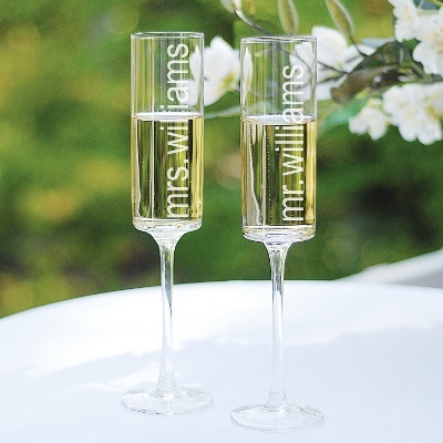 I love these!!! So modern!   Exclusively Weddings | Contemporary Toasting Flutes