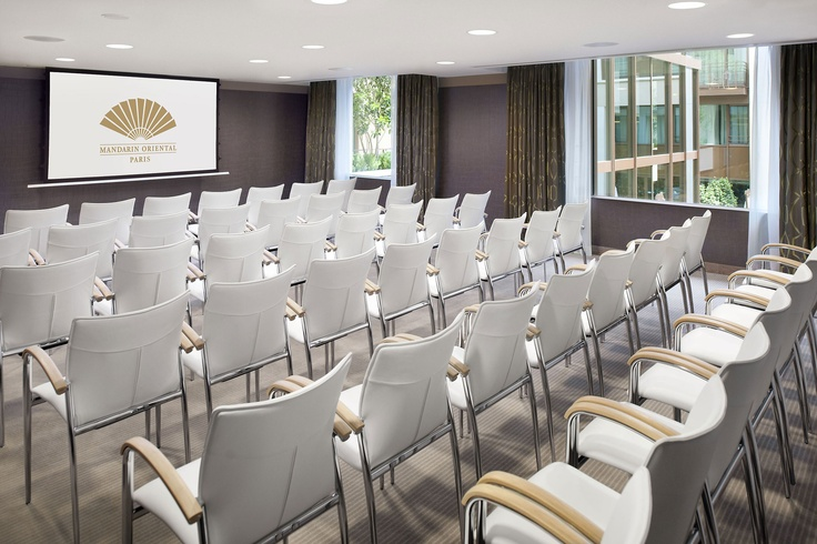 Hotels & Resorts, Beautiful Luxurious Mandarin Oriental Paris Hotel Interior Design In French: White Chairs For Convention Room Facing Large Screen On Wall