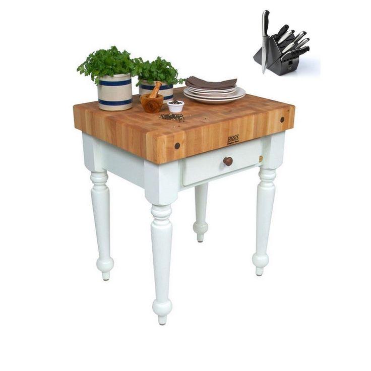 John Boos 24x24 Rustica CUCR04-AL Kitchen Work Table & Bonus 13 Pc Henckels Knife Set