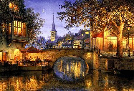 Вид на вечерний город с мостом через канал, исходник работа художника Евгений Лушпин