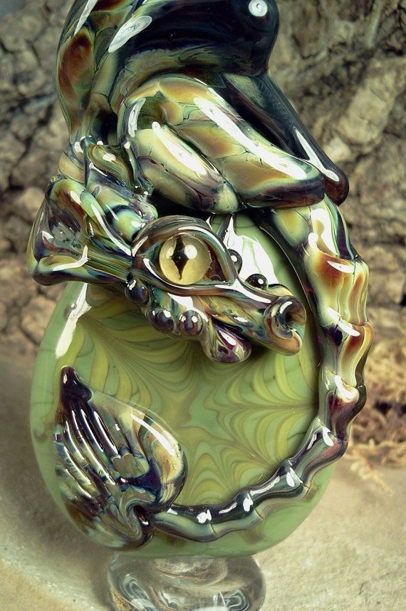 TUILELAITH- Dragon Guardian - Lampwork Bead by Mary Lockwood olive green