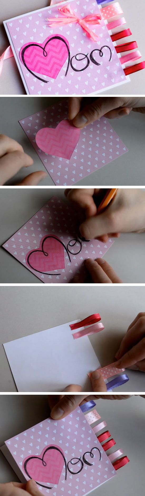 Pretty Ribbons | DIY Mothers Day Card Ideas for Children | Easy Birthday Cards to Make for Mom
