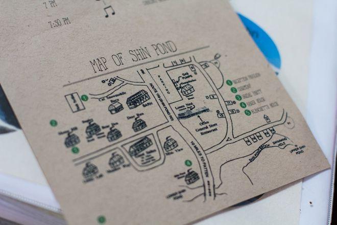 Custom wedding map of Shin Pond, Maine. Image: Samantha Marie Photography