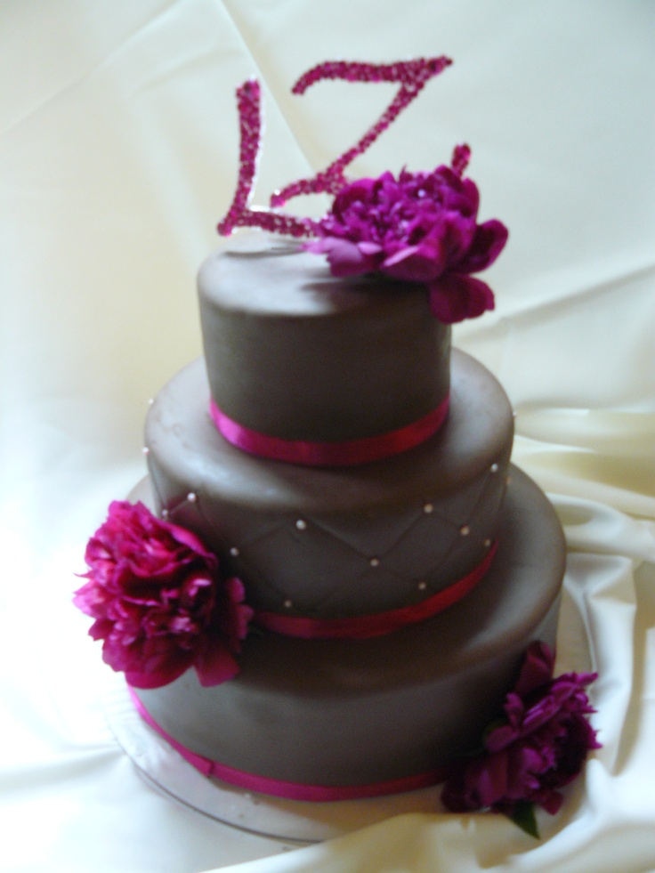 Wedding cake with peaonias and with special handmade monograms...