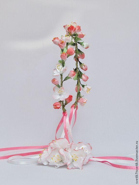 """Купить Венок на голову с цветами яблони """"Яблоневый цвет"""" - розовый, венок из цветов, венок для невесты"""