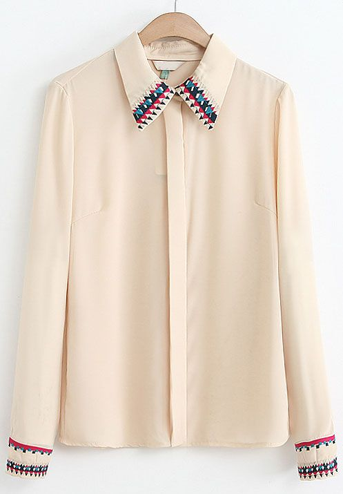 Apricot Lapel Long Sleeve Embroidered Chiffon Blouse $MXN349.16