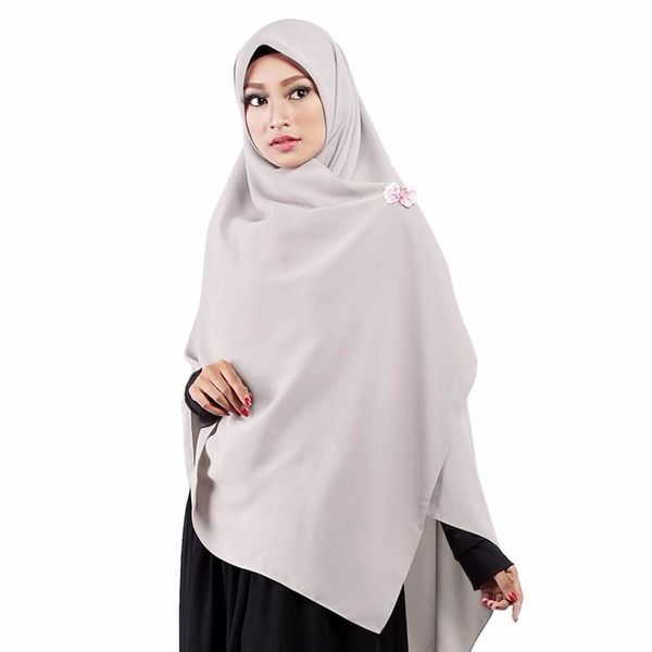 Jilbab Segiempat Premium Abu Muda