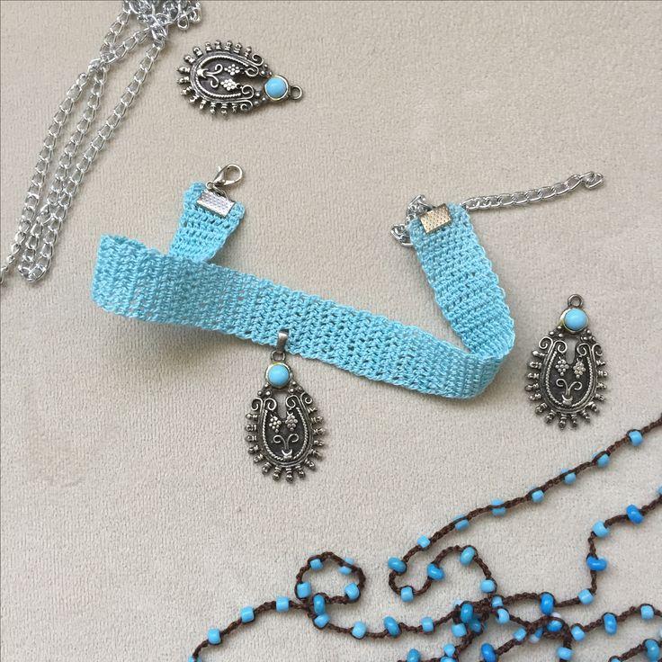 #bohem #bohemian #boho #bohemic #fashion #choker #tasma #kolye #necklace #turkuaz #turquoise #hippie #style