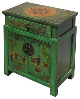 Chinese Green End Table with Kids Playing Graphic - asian - nightstands and bedside tables - san francisco - by Golden Lotus Antiques
