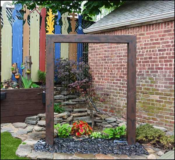 Want a pond without all the maintenance? Ta-Da! #DIY Rain shower contemporary fountain