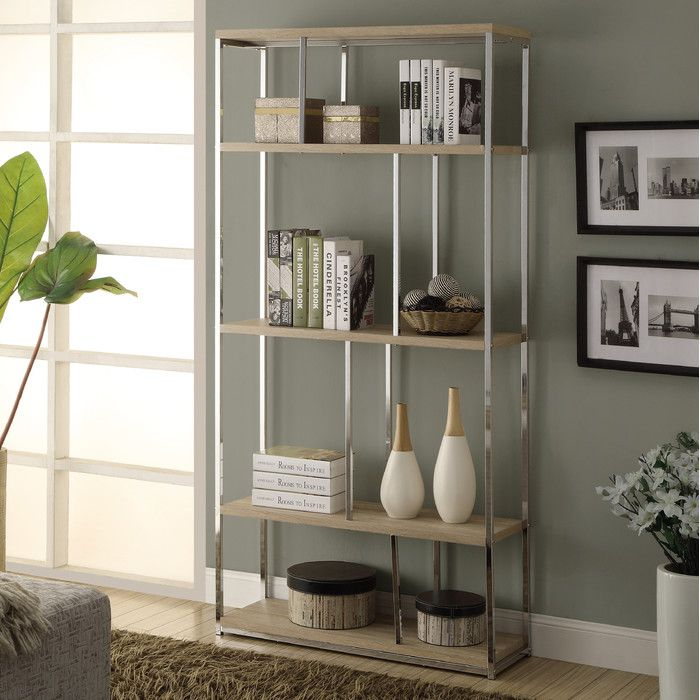 Reclaimed Look Metal Bookcase   Natural / Chrome   Sleek, Modern, And  Elegant, The Monarch 72 In. Reclaimed Look Metal Bookcase   Natural /  Chrome Defines ...