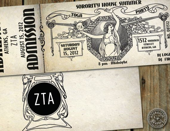 Greek Toga Party Invitation Ticket by HydraulicGraphix on Etsy, $26.50