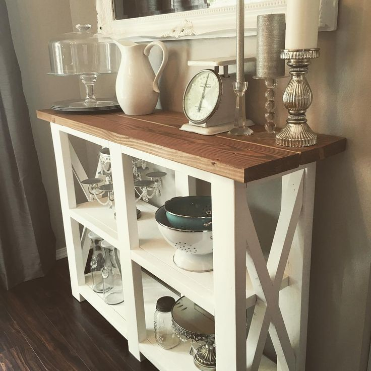 From plan http://ana-white.com/2012/05/plans/rustic-x-console  Taller version