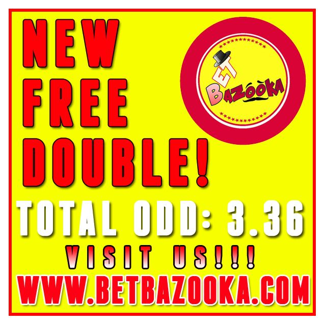 BAZOOKA ‪#‎FREE‬ ‪#‎DOUBLE‬ IS POSTED!!! ‪#‎TOTAL‬ ‪#‎ODD‬ 3.36 ‪#‎CHECK‬ IT OUT!!! #premium #system #picks #bookmaker, #advisory #consulting #bookies #predictions #sport #soccer #futebol #NHL #tennis, #basketball #livescore #tools