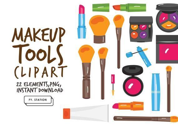 Makeup Tools Clipart Pack 1 Diy Elements Illustration Printable Instant Download Diy Clip Art Downloadable