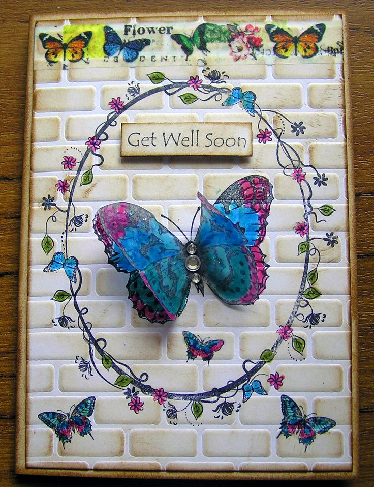 Vine frame butterfly card with Washi tape & using a brick stencil