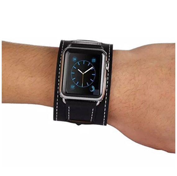 Black Apple Watch Leather Cuff, 42mm, 38mm, Apple Watch Band, Apple Watch Cuff, Black Watch Strap, Apple Watch Strap, Apple Watch Sport Band