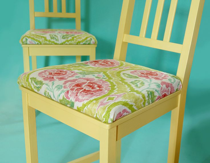 make upholstered cushions for chairs that don't have them!  Easy step by step tutorial including how to attach them to your chairs!