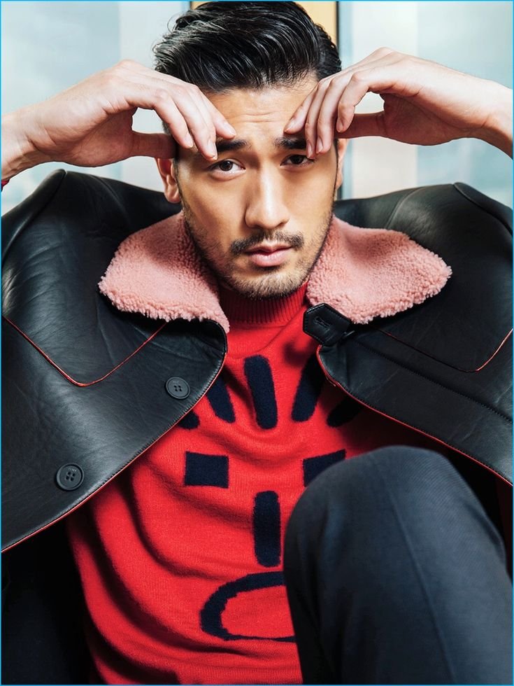 Godfrey Gao pictured in a fall-winter 2016 look from Fendi for Elle Men Hong…
