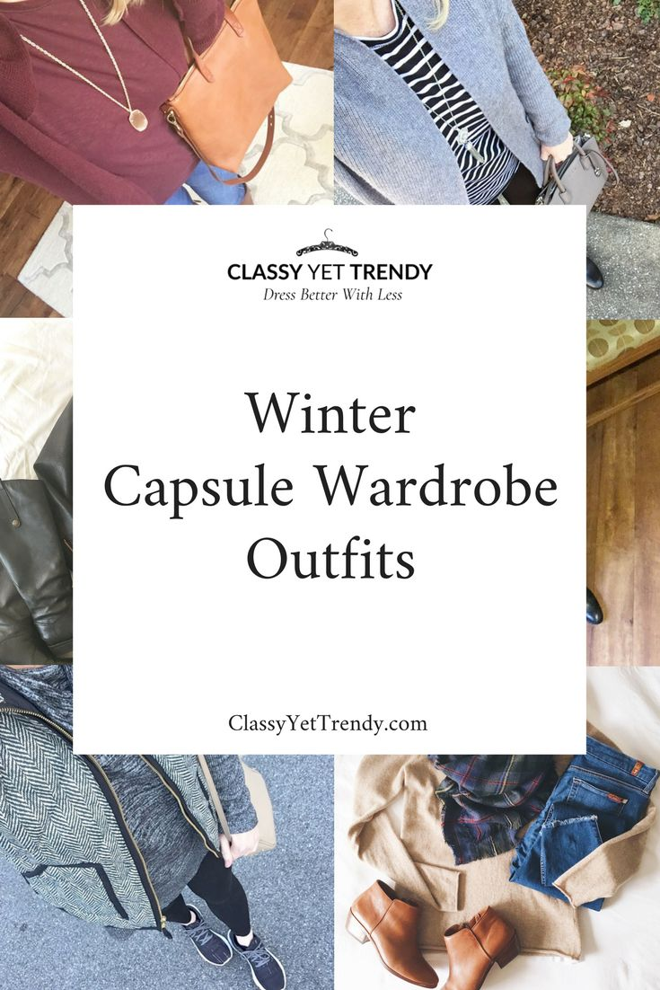 Winter Outfits On Instagram (Trendy Wednesday #150) - I'm sharing a few outfits I've been wearing from my Winter capsule wardrobe. A few favorites that include a tee, cardigan, vest, leather jacket, sweater, scarf, necklace, crossbody bag and boots.