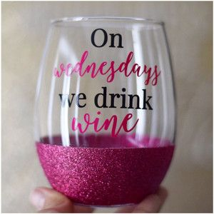 On Wednesdays We Drink Wine Stemless Wine Glass Glitter Wine Glass Funny Wine Glass Glitter                                                                                                                                                                                 More